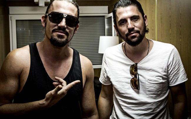 Dimitri Vegas & Like Mike The superstar-DJs chilling backstage at Electric Love Festival (Salzburg / Austria).