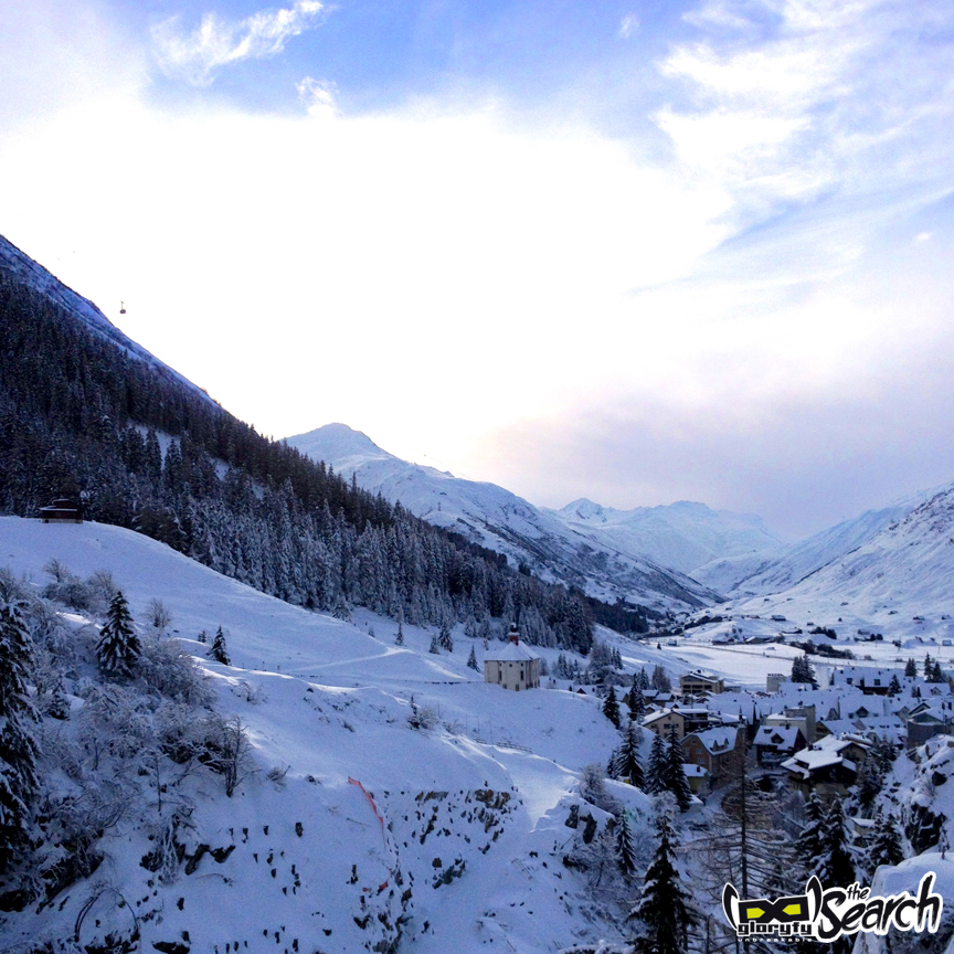 Andermatt with beautiful, snowy clouds in the south